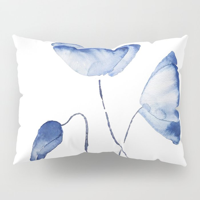 indigo poppy watercolor Pillow Sham