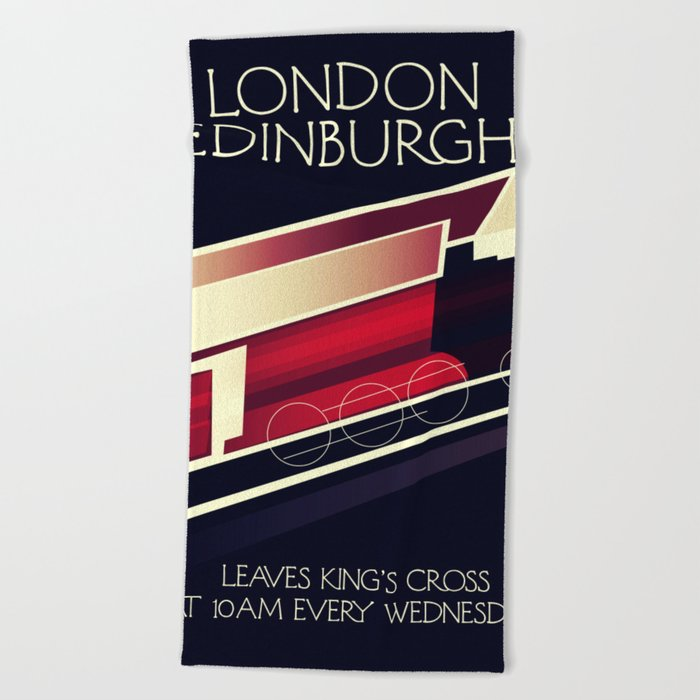 London Edinburgh Locomotive Vintage Style Poster Beach