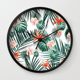 Tropical Flowers & Leaves Paradise #2 #tropical #decor #art #society6 Wall Clock