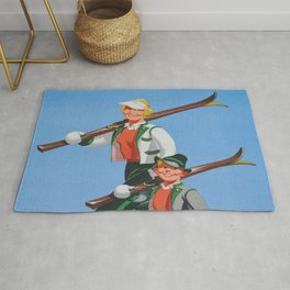Mom and Son Skiers Vintage Art Rug