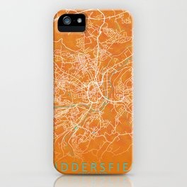 Huddersfield, England, Gold, Blue, City, Map iPhone Case