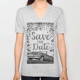 Save the Date vintage car ink art Unisex V-Neck