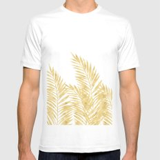 Palm Leaves Golden Mens Fitted Tee MEDIUM White