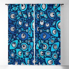 Greek Evil Eye pattern Blues and Silver #2 Blackout Curtain