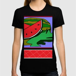 Watermelon with flower and red tile T-shirt
