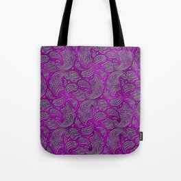 Silver embossed Paisley pattern on purple glass Tote Bag