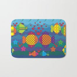 Stylize fantasy color fishes under sea water in love Bath Mat