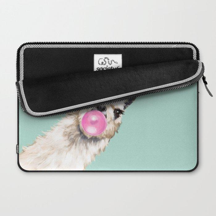 Bubble Gum Sneaky Llama in Green Laptop Sleeve