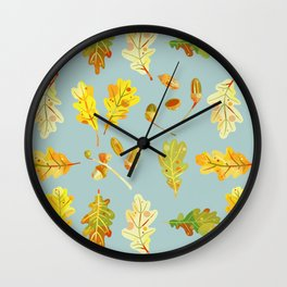 Oak Leaves and Acorns Blue Wall Clock