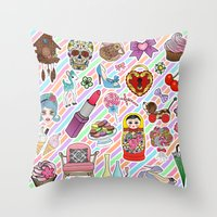 stickers Throw Pillows featuring I Love Stickers by Jade Boylan