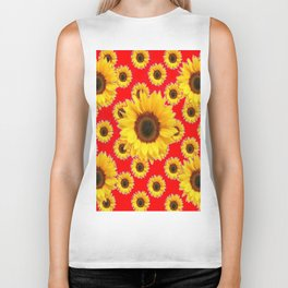 Chinese RED Color Sunflower Patterns on Orange & Purple Color Biker Tank