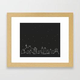 Barcelona Skyline at night Framed Art Print