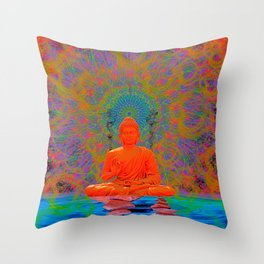 Cool Water Zen (Ultraviolet) (psychedelic, meditation) Throw Pillow
