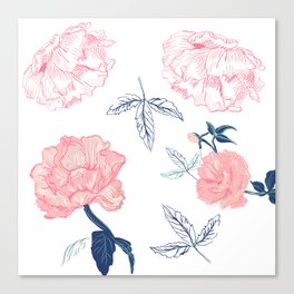 Vintage roses with indigo palette Canvas Print