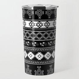 White & Black Primitive Pattern Travel Mug