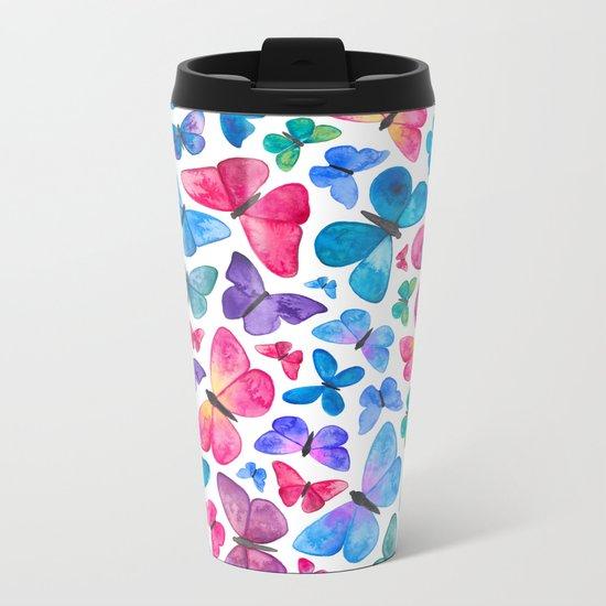 Watercolour Butterflies Metal Travel Mug