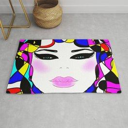 Pretty face ,pop art illustration Rug