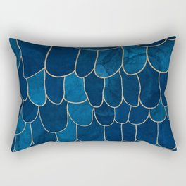 Stratosphere Sapphire // Abstract Blue Flowing Gradient Gold Foil Cloud Lining Water Color Decor Rectangular Pillow