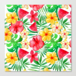 Happy Summer Life - Aloha Flowers and Melon - Pattern Canvas Print