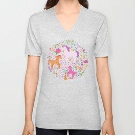 Unicorns Dancing in an Enchanted Garden Unisex V-Neck