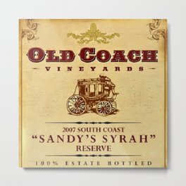 Vintage Old Coach Vineyards Reserve Wine Bottle Label Print Metal Print