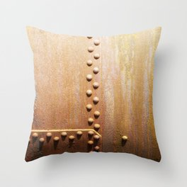 Rivets on steel plates Throw Pillow