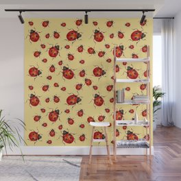 """""""I LOVE RED LADY BUGS"""" ON CREAM COLOR Wall Mural"""