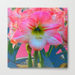 ABSTRACT PINK-WHITE AMARYLLIS  FLOWER GARDEN ART Metal Print