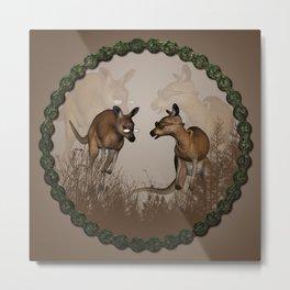 Funny kangaroos Metal Print