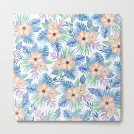 Tropical coral lilac lavender blue watercolor floral Metal Print