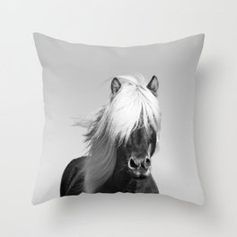 Portrait of a Horse in Scotish Highlands Throw Pillow