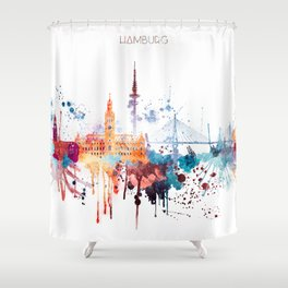 Hamburg City Skyline Shower Curtain