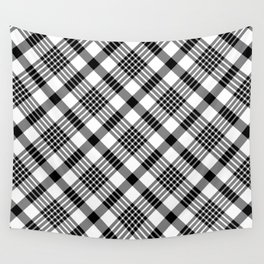 Black and White Plaid Pattern Wall Tapestry