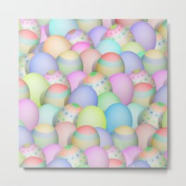 Pastel Colored Easter Eggs Metal Print