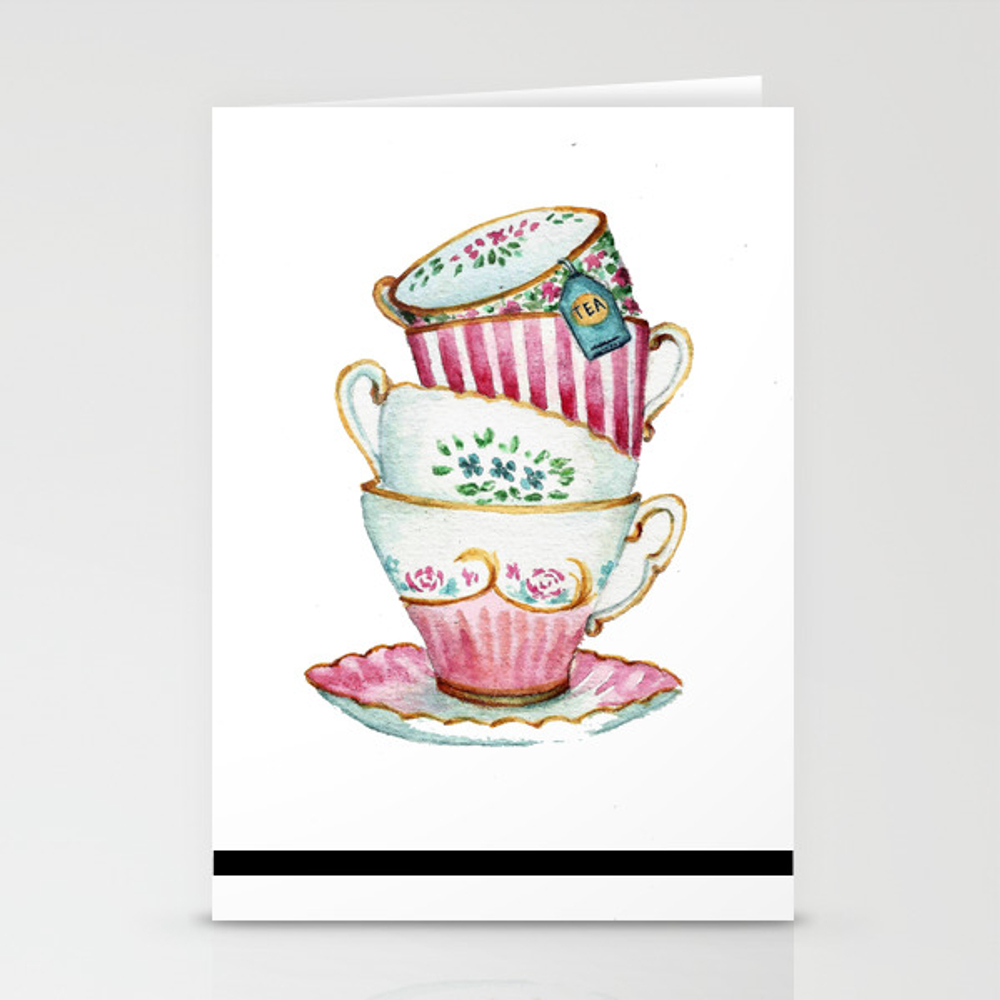 Cups Watercolor Stationery Cards by Artnataly CRD8841552