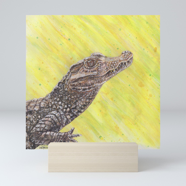 Dwarf Caiman Small Alligator Mini Art Print By Vlgstudios