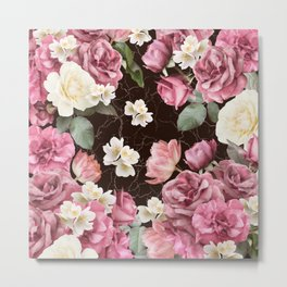 Bouquets of pink and white lush roses, tulips and jasmine. Metal Print
