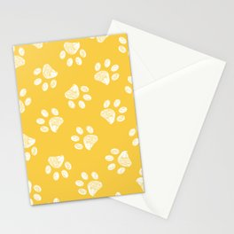 Doodle white paw print seamless fabric design repeated pattern yellow background Stationery Cards