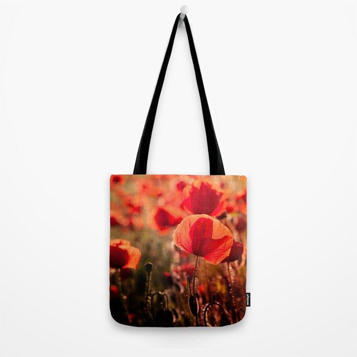 Fiery poppy field - Red Poppies Flowers Tote Bag