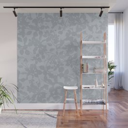 Broken but Flourishing Floral Pattern - Grey Wall Mural