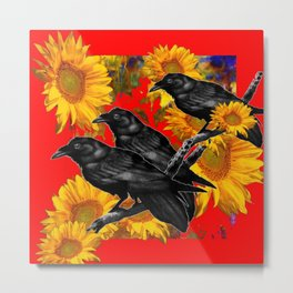 THREE CROWS & SUNFLOWERS GARDEN RED ART Metal Print