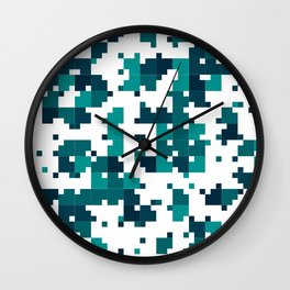 Take me to the bottom of the ocean - Random Pixel Pattern in shades of blue green Wall Clock