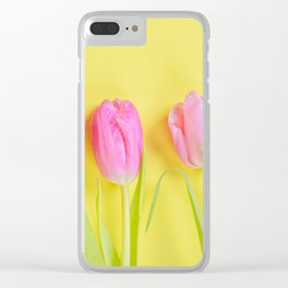 Three pink tulips on yellow Clear iPhone Case