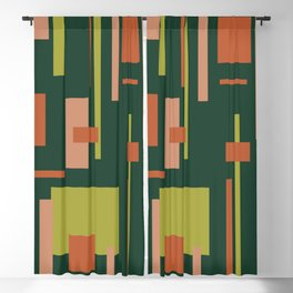 Cityscape Mid-Century Modern Abstract in Coral and Green Blackout Curtain