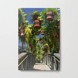 Flower Clad Footbridge Metal Print