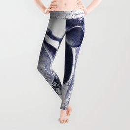 Breaching Orca Killer Whale Watercolor Ancient Blue Leggings