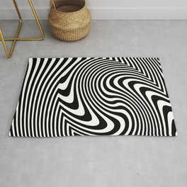Optical Illusion Op Art Black And White Rug