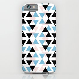 pink black and blue triangle mosaic pattern iPhone Case