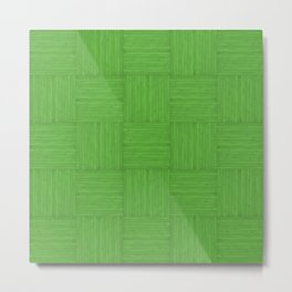 Green Faux Bois Wood Pattern Metal Print
