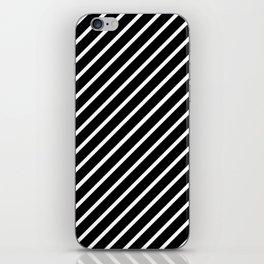 Black and White Diagonal Tight Stripes iPhone Skin